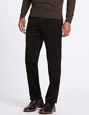 Tailored Fit Cotton Rich Corduroy Trousers, DARK BROWN, catlanding
