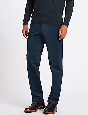 Tailored Fit Cotton Rich Corduroy Trousers, TEAL, catlanding