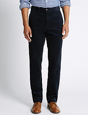 Pure Cotton Corduroy Trousers, NAVY, catlanding