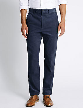Pure Cotton Corduroy Trousers, STEEL BLUE, catlanding