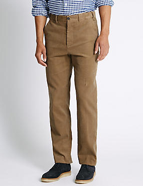 Pure Cotton Corduroy Trousers, NATURAL, catlanding