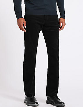 Big & Tall Straight Fit Corduroy Trousers, BLACK, catlanding
