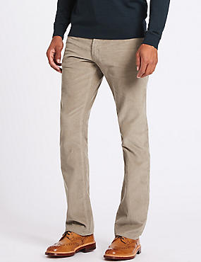 Straight Fit Corduroy Trousers, STONE, catlanding