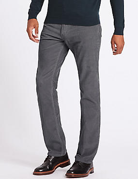 Straight Fit Corduroy Trousers, GREY, catlanding