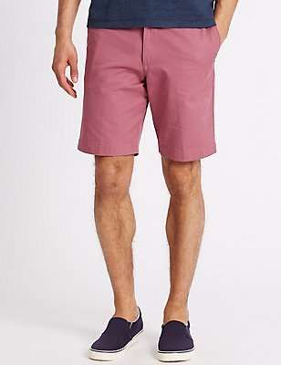 Adjustable Waist Pure Cotton Chino Shorts, RASPBERRY, catlanding