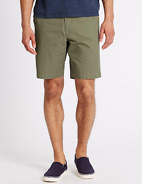 Pure Cotton Shorts with Adjustable Waist, WASHED GREEN, catlanding