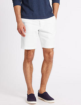 Pure Cotton Shorts with Adjustable Waist, WHITE MIX, catlanding