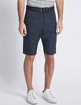 Cotton Rich Lightweight Belted Shorts, NAVY, catlanding