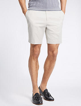 Cotton Rich Slim Fit Shorts, LIGHT STONE, catlanding