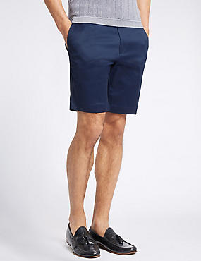 Cotton Rich Slim Fit Shorts, NAVY, catlanding