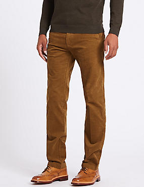 Straight Fit Corduroy Trousers with Stretch, STONE, catlanding