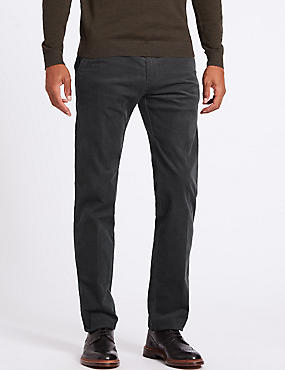 Straight Fit Corduroy Trousers with Stretch, GREY, catlanding