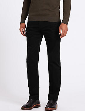 Straight Fit Corduroy Trousers with Stretch, BLACK, catlanding