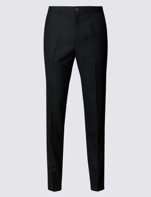 Приталенные фланелевые брюки из шерсти M&S Collection T178117Q