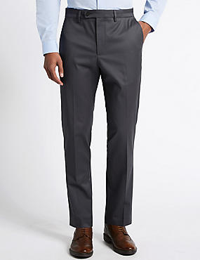Cotton Rich Flat Front Trousers, GREY MIX, catlanding