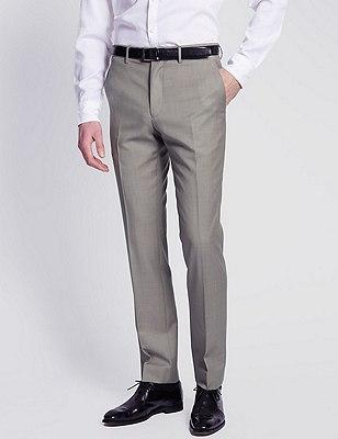 Pure Wool Luxury Flat Front Trousers, NEUTRAL, catlanding