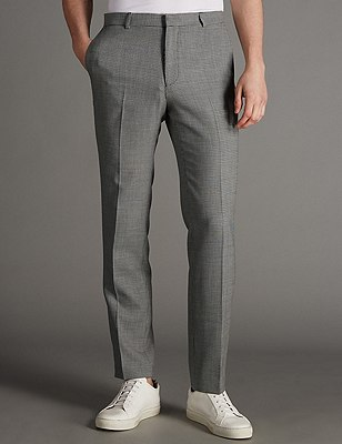 Slim Fit Flat Front Trousers with Wool , BLACK/WHITE, catlanding