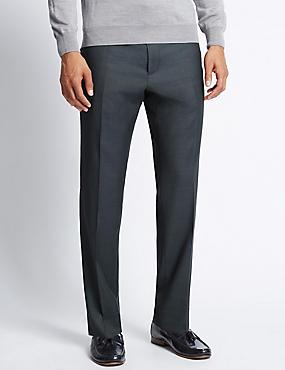 Italian wool Tailored Fit Trousers, GREY, catlanding