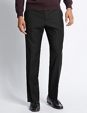 Italian wool Tailored Fit Trousers, BLACK, catlanding