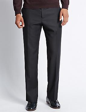 Italian wool Tailored Fit Trousers, NAVY, catlanding