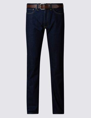Прямые джинсы индиго с ремнем Marks & Spencer