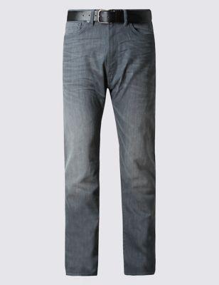Прямые джинсы с потёртостями и ремнём M&S Collection T178444M