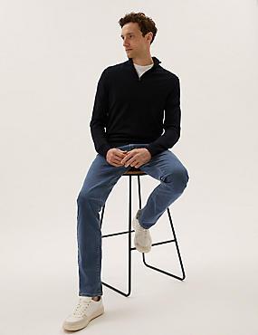 Tapered Fit Water Resistant Jeans, MEDIUM BLUE, catlanding