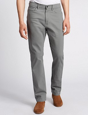 Regular Fit Stretch Jeans, LIGHT GREY, catlanding