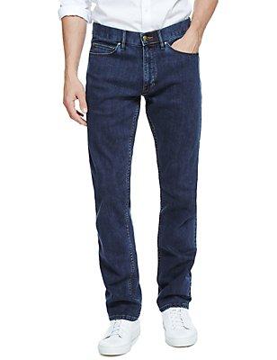 Wasserabweisende Stretch-Jeans in schmaler Passform, MITTELBLAU, catlanding
