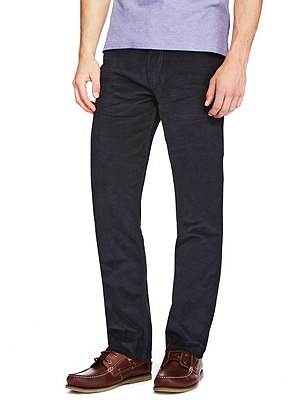 Cotton Rich Straight Fit Trousers, NAVY, catlanding