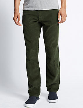 Pure Cotton Jean Style Corduroy Trousers with Buttonsafe™, SAGE, catlanding