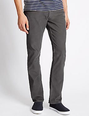 Pure Cotton Jean Style Corduroy Trousers with Buttonsafe™, GREY, catlanding