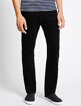Pure Cotton Jean Style Corduroy Trousers with Buttonsafe™, BLACK, catlanding