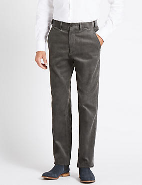 Regular Fit Pure Cotton Trousers, MID GREY, catlanding