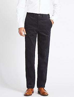 Regular Fit Pure Cotton Trousers, NAVY, catlanding