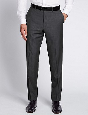Luxury Italian Wool Flat Front Trousers, GREY, catlanding