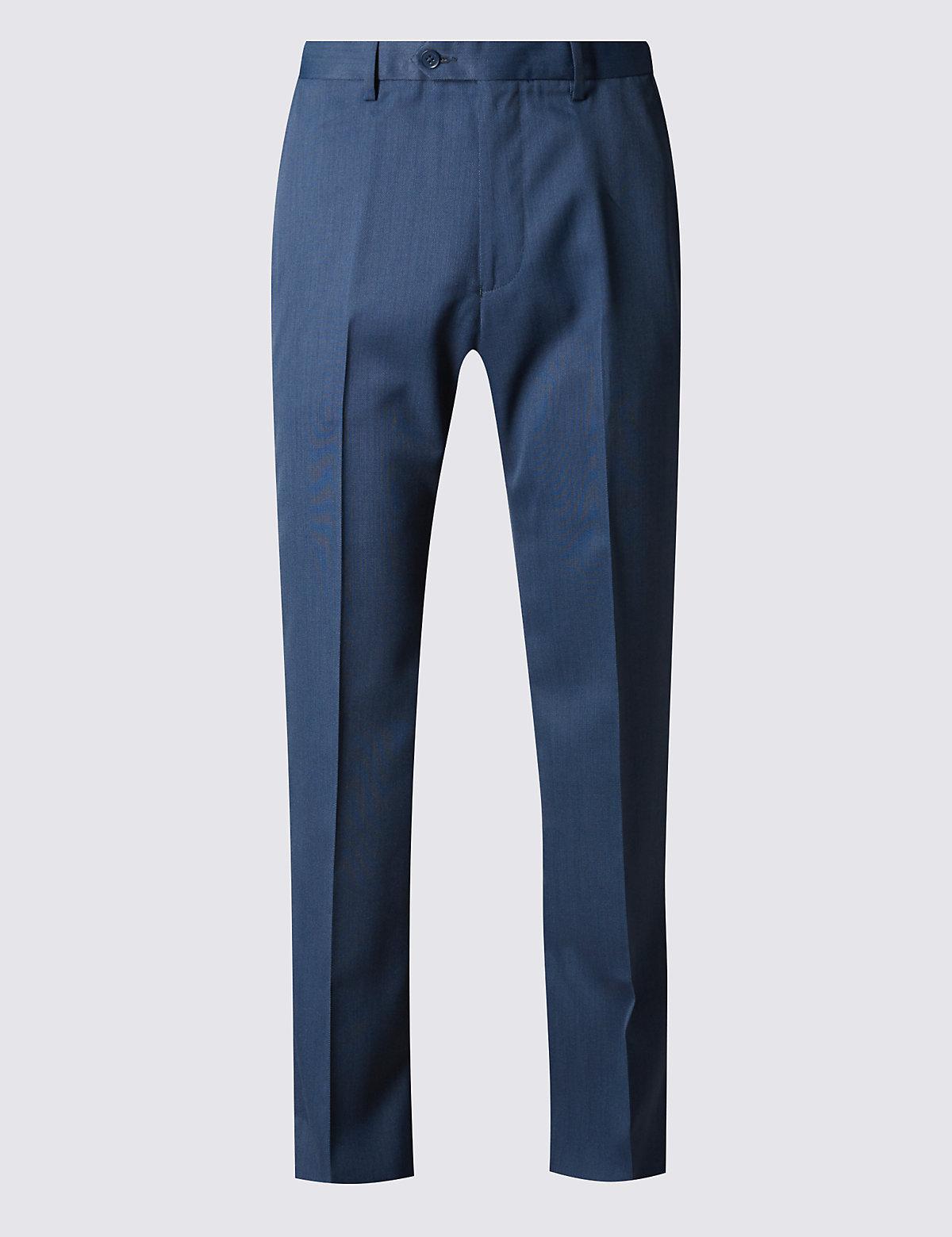 Брюки мужские классического кроя без защипов M&S Collection. Цвет: королевский синий