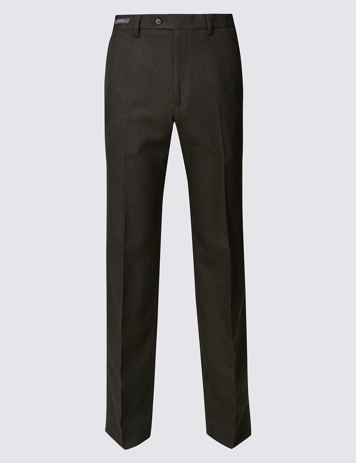 Брюки мужские классического кроя из 100%-го полиэстра M&S Collection. Цвет: коричневый