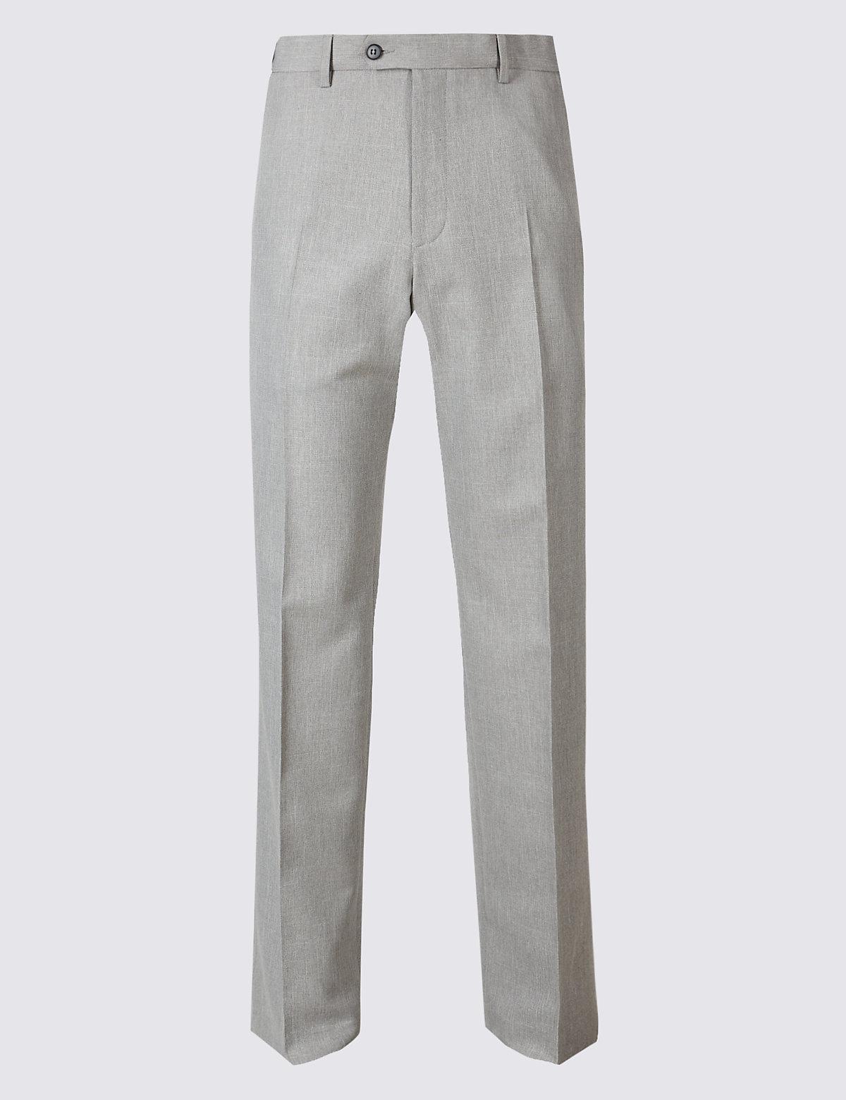 Брюки мужские классического кроя без защипов M&S Collection. Цвет: серый