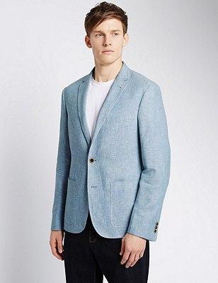 Linen Blend Tailored Fit 2 Button Jacket with Buttonsafe™, BLUE, catlanding