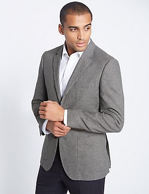 Linen Blend Single Breasted 2 Button Jacket, BLACK/WHITE, catlanding