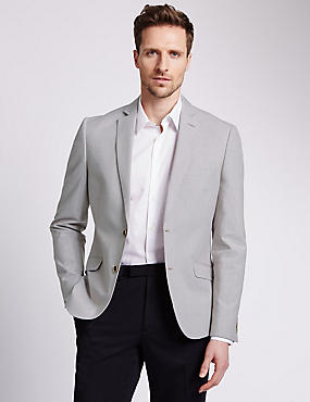 Cotton Rich Buttonsafe™ Slim Fit Striped 2 Button Jacket with Linen, NEUTRAL, catlanding
