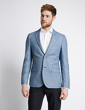 Blue Linen Cotton Mix Tailored Fit Jacket, BLUE, catlanding