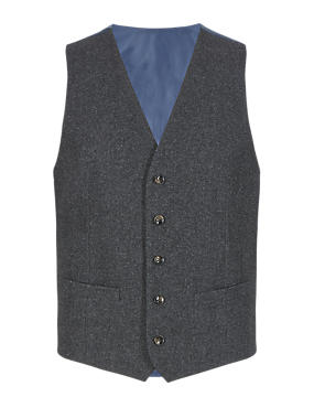 Slim Fit 5 Button Donegal Waistcoat with Wool