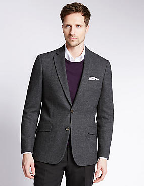 Slim Fit 2 Button Donegal Jacket with Wool, CHARCOAL, catlanding