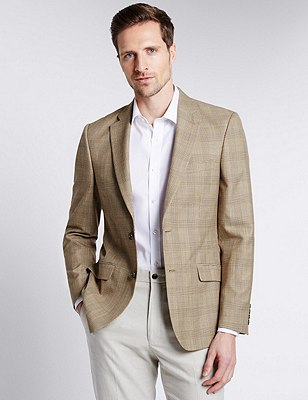 Slim Fit 2 Button Prince of Wales Check Jacket, NEUTRAL, catlanding