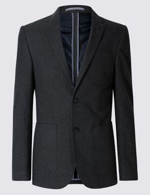 Фланелевый слегка приталенный пиджак с 2 пуговицами Buttonsafe™ M&S Collection T193112