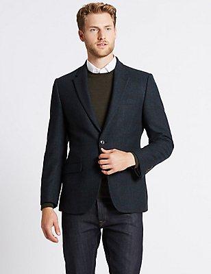 Wool Blend Checked Harringbone Jacket, NAVY, catlanding