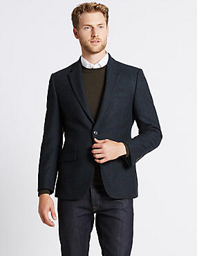 Wool Blend Checked Herringbone Jacket, NAVY, catlanding
