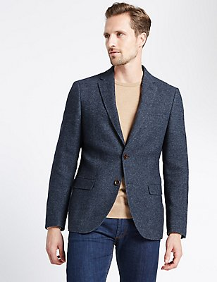 Single Breasted 2 Button Jacket, BLUE, catlanding